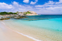 Azure beach with clear water near Porto Pollo on beautiful Sardinia island, Italy Royalty Free Stock Photos
