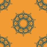 Azure and black seamless mandala Print. Retro Ornate Mandala based design  for greeting card, Brochure, Card or Invitation with Islamic, Arabic, Indian Royalty Free Stock Photography