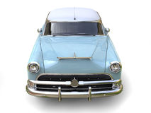 Azure blue cool vintage car - front view closeup Royalty Free Stock Image