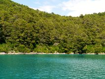 The azure blue of the Croatian Polace bay Royalty Free Stock Photo