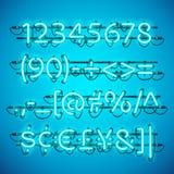Azure Blue Numbers de neón que brilla intensamente Imágenes de archivo libres de regalías