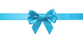 Azure blue ribbon bow horizontal border. White background stock photos