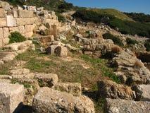 Azure blue sky, a majestic landscape. Ancient marble of colonnades, temples, ruins, rocks,. Azure blue sky, a majestic landscape Royalty Free Stock Photos