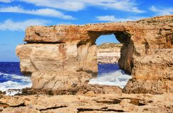 Azure (blue) window, Gozo, Malta Stock Photos