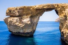 Azure blue window, Gozo, Malta Stock Photo