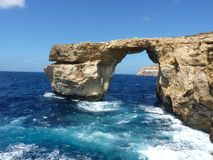Azure Blue Window in Gozo Malta showing Rock Formation. Dwejra Bay Stock Image