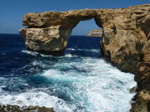 Azure Blue Window in Gozo Malta showing Rock Formation. Dwejra Bay. Deep Royalty Free Stock Image