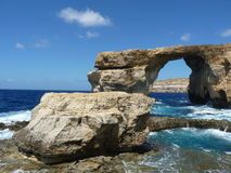 Azure Blue Window in Gozo Malta showing Rock Formation. Dwejra Bay. Deep blue hole Royalty Free Stock Photography