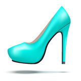 Azure bright modern high heels pump woman shoes Stock Image
