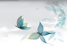 Azure Butterflies on the sky. Vector surreal sketch of turquoise nature Stock Image
