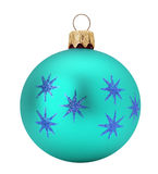 Azure Christmas ball isolated on the white background Royalty Free Stock Photography