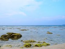 Azure Clean Sea Water with Underwater Stones and Blue Sky - Natural Background - Neil Island, Andaman Nicobar, India. This is a photograph of azure clean sea royalty free stock photos