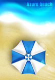Azure coast with beach umbrellas Royalty Free Stock Photos