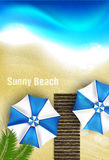 Azure coast with beach umbrellas Royalty Free Stock Image