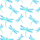 Azure dragonfly seamless background Stock Images