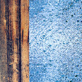 Azure drips and wooden timber as abstract background. Royalty Free Stock Photos