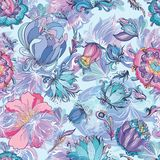 Azure Floral Vector Pattern Photographie stock