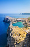 Azure heart shaped sea bay in Lindos Stock Photography