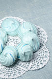 Azure homemade meringue cookies Royalty Free Stock Photo