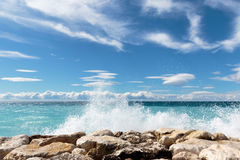 Azure II. Seascape taken from the 'Promenade-des-Anglais' in Nice on the 'Cote-D'Azur Stock Photography