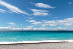 Azure III. Seascape taken from the 'Promenade-des-Anglais' in Nice on the 'Cote-D'Azur Stock Images
