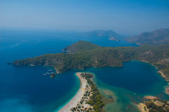 Azure lagoon. Aerial view on so called Azure Lagoon at the coast of the Mediterranean sea in Oludeniz, Turkey Stock Images
