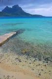 Azure Lagoon Waters. A photo taken across the blue lagoon in Bora Bora, Tahiti Stock Photo