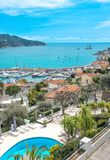 Azure Mediterranean sea blue sky Villefranche Nice French rivier. Azure Mediterranean sea and blue sky. Villefranche by Nice, French riviera. Summer holidays Stock Image