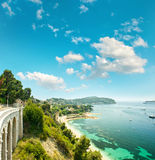 Azure Mediterranean sea and cloudy blue sky. Summer holidays Stock Image