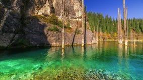 Azure, a mountain river flows into the large lake Kaindy. 4K TimeLapse - September 2016, Almaty and Astana, Kazakhstan stock footage