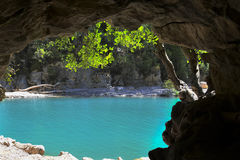 Azure pool seen from cave Royalty Free Stock Photo