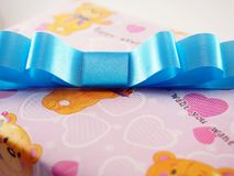 Azure Ribbin on The Box Gift Background Royalty Free Stock Photos