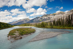 Azure river in Banff National Park Canadian Rockie. Main river in Banff National Park, Canadian Rockies Royalty Free Stock Images