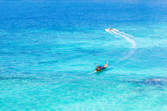 Azure sea and boats Royalty Free Stock Photography