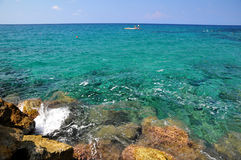 Azure sea in Cyprus. Azure sea coral island off the coast of Cyprus - Turkish part - Keryneia Stock Photos