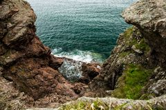 Azure Sea of Japan and Red Rocks royalty free stock photos