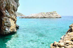 Grotto. View of the azure sea and rocks Stock Photos