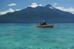 Azure sea. View of azure sea with beach and volcano Hiboc Hiboc. Camiguin Island, Philippines Royalty Free Stock Photos