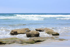 Azure Shore of Solana Beach, CA. Azure Pacific Waters and Ocean Rocks , Solana Beach, CA Stock Photos