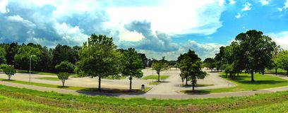 Azure sky over parking lot. In the summertime in north east Louisiana stock photo