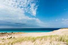 Azure Sky and Waters at Sleeping Bear Dunes National Lakeshore,. Azure blue skys and the waters of Lake Michigan are the background at Sleeping Bear Dunes Royalty Free Stock Photography