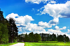 Azure sky with white clouds on Summer day Stock Photo