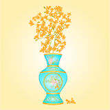 Azure vase with Forsythia vector Royalty Free Stock Photos