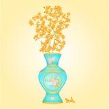 Azure vase with Forsythia vector Royalty Free Stock Photos