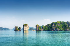 Azure water of the Ha Long Bay, the South China Sea, Vietnam Stock Photos