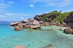 Azure  water lagoon. Azure and smooth water lagoon. Rest on the Similan Islands, Thailand Stock Images