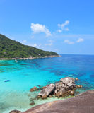 Azure water lagoon in Thailand. Rest on the Similan Islands, Thailand. Azure and smooth water lagoon Stock Photos