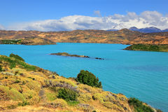 Azure water of Lake Pehoe Stock Photo