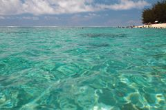 Azure water of ocean. Lagoon Hermitage, Reunion. 21-01-2016 Royalty Free Stock Photography