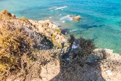 Aegean Sea, Skiathos, Greece. landscape. Azure waters of the aegean sea on the island of Skiathos, Greece. Rocky shores stock image